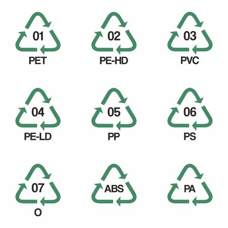 Plastic recycling symbols vector design isolated on white background Illusztráció