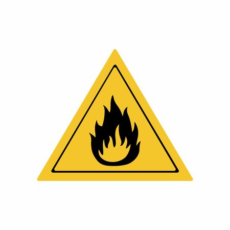 chemical hazard: Flammable material sign vector design . ISO 7010 W021 Warning symbol. Illustration