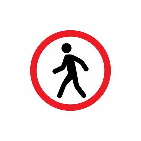 Los peatones prohibieron el diseño del vector de la muestra aislado en el fondo blanco