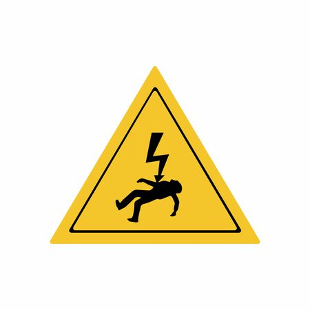 Electricity hazard sign vector design isolated on white background Illustration