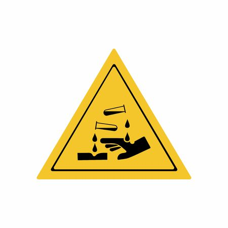 Corrosive substance sign vector design isolated on white background Illusztráció