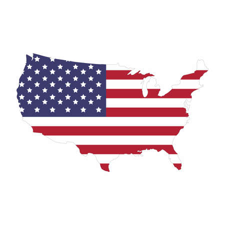 Map of United State of America, vector design isolated on white background