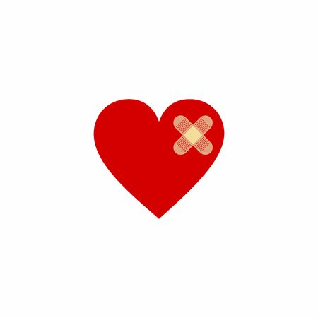 Broken heart vector design isolated on white background