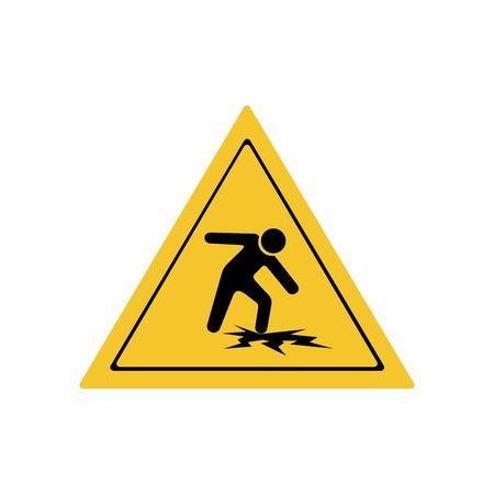 Warning thin ice sign vector design isolated on white background Illustration