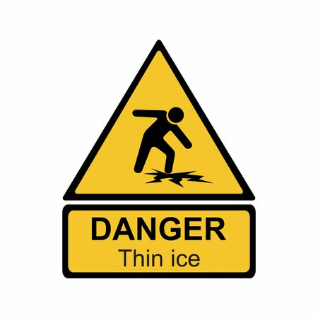Warning thin ice sign vector design isolated on white background Illusztráció
