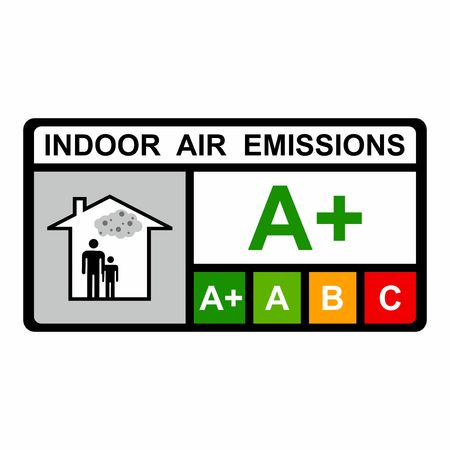 dangerous construction: Indoor air emissions vector design isolated on white background
