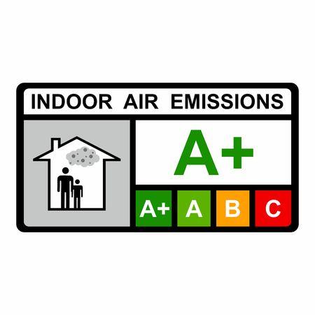 Progettazione di vettore di emissioni di aria interna isolato su priorità bassa bianca