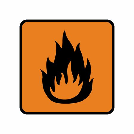 可燃性材質記号ベクトル デザインです。ISO 7010 警告記号です。