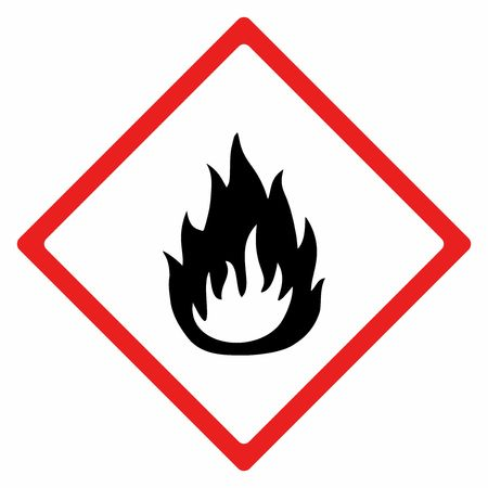 Flammable material sign vector design . ISO 7010  Warning symbol. Illusztráció