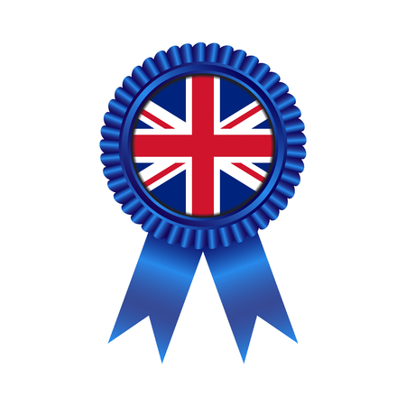 Medal with United Kingdom flag illustration design isolated on white background Illusztráció