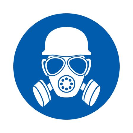 Safety helmet and gas mask must be worn. Standard ISO 7010