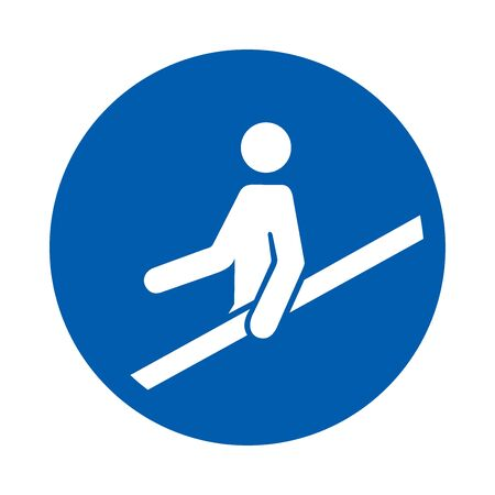 Use handrail. M012. Standard ISO 7010. Safety and precaution signs, for every factory and business.