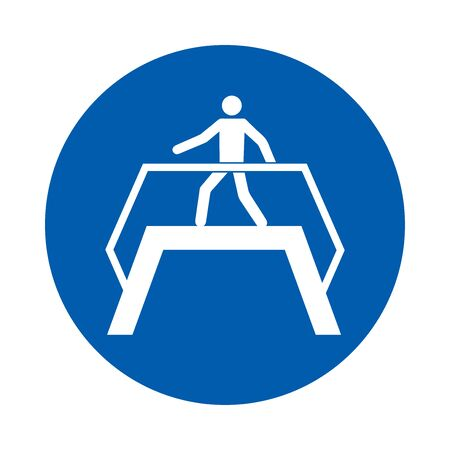 Use footbridge. M023. Standard ISO 7010. Safety and precaution signs, for every factory and business.
