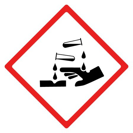 Corrosion hazard sign or symbol. Vector design isolated on white background.  Latest hazard signs collection. GHS hazard sign.