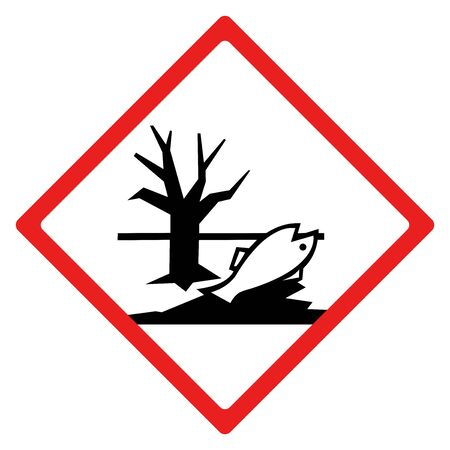 Environmental hazard sign or symbol. Vector design isolated on white background.  Latest hazard signs collection. GHS hazard sign. Ilustração