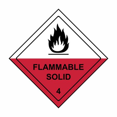 Flammable solid sign or symbol. Substances liable to spontaneous combustion sign or symbol. Vector design isolated on white background.
