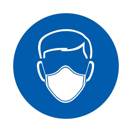 Safety mask must be worn sign or symbol. M016. Standard ISO 7010. Vector design isolated on white background . Vettoriali