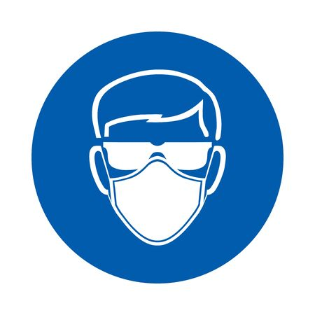 Safety glasses and mask must be worn sign or symbol.  Standard ISO 7010.  Vector design isolated on white background . Çizim