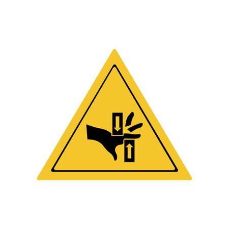 Crushing of hands sign or symbol. Vector design isolated on white background. Warning signs collection.