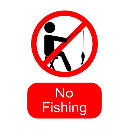 No fishing, sign or symbol. Vector design isolated on white background. Fishing forbidden in this area.