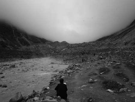 The back of the Hailuogou No. 1 Glacier Stok Fotoğraf