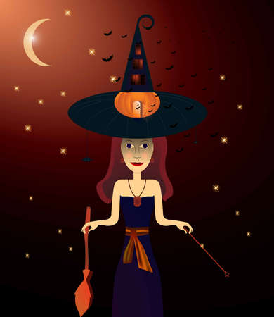 Witch on halloween Ilustração
