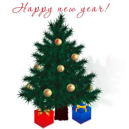 Greeting card happy new year Иллюстрация