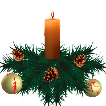A candle, spruce branches, pine cones.
