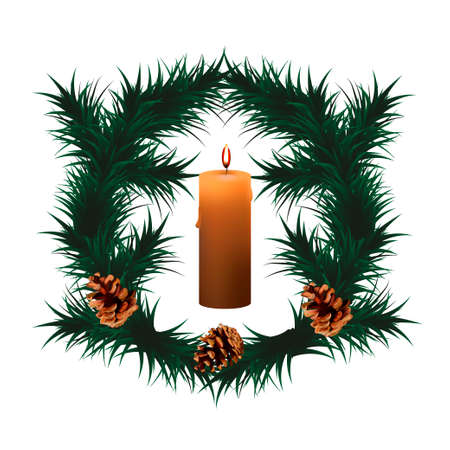 Christmas wreath with candle and pinecones.