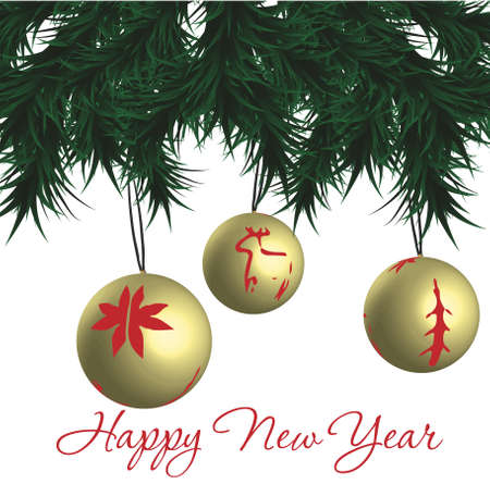 Greeting New Years card Иллюстрация