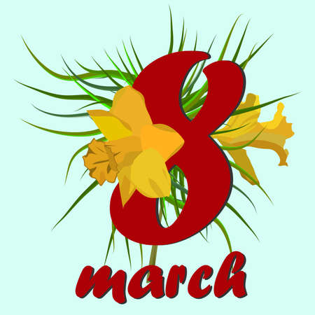 8 March Women s Day greeting card. 8 March Design cards with narcissus flowers.