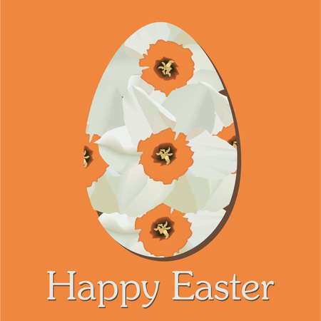Happy Easter card with yellow narcissus, Illustration of Easter background