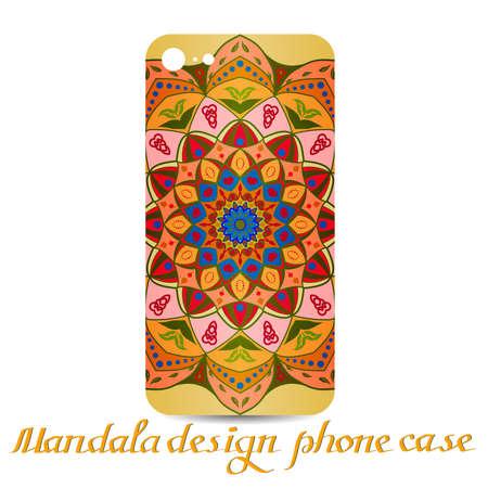 Mandala design phone case. Phone cases are decorated by mandala. Vintage decorative elements. Ornamental doodle background.