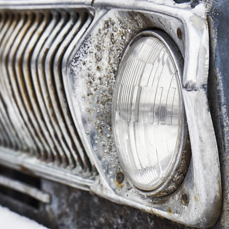 Headlight of retro russian soviet car Volga Stock Photo
