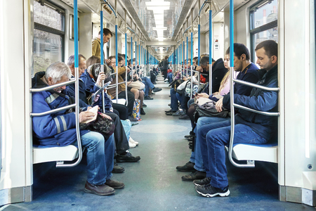Moscow,Russia - April 20,2018. Interior of a Moscow subway car in the morning of a workday.