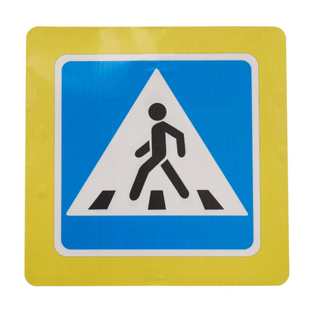Pedestrian crossing sign with a yellow edging isolated on white background from Moscow street