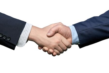 Hands of two men wearing business shirts and suits in handshake isolated on the white background. Business agreement or successful deal concept