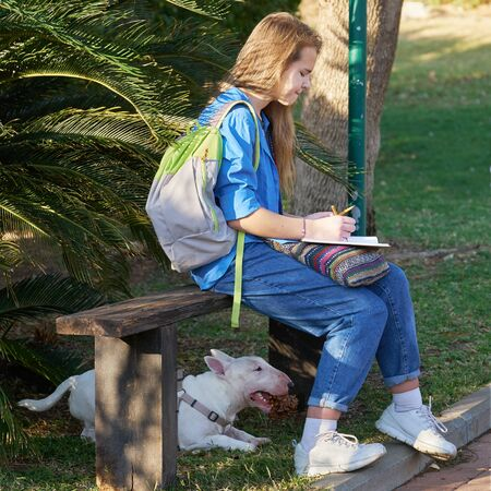 Teen girl drawing in a park with her bull terrier