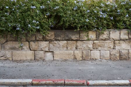 Parking is prohibited on Israel street. Red and white colored road curbstone indicating the prohibition of Parking Standard-Bild