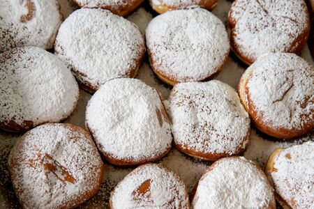 Fresh Tasty Hanukkah Donuts sold in the market in Haifa, Israel. View from above