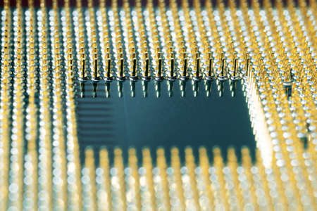 Macro photo of a modern CPU main computer processor. Angle view Stock Photo