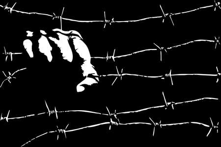 Prison, slavery, captivity,  concept with a male hand holding barbed wires.