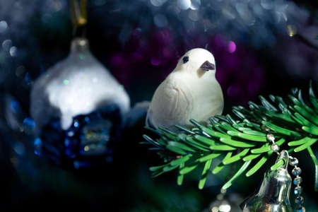 Decorative Toy bird on the Christmas tree branch in New Year eve Stock Photo