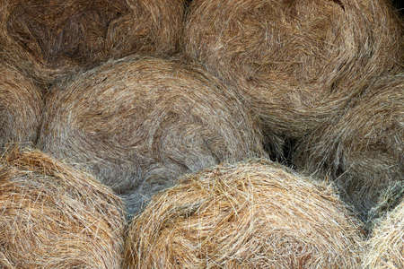 Background with hay bales stacked in piles