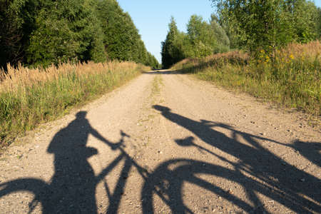 Concept of a summer bicycle journey with shadows from people on the bicycles on the forest road