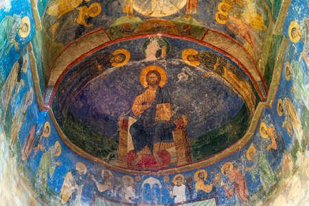 Pskov, Russia-June 16, 2015. Ancient frescoes of the Spaso-Preobrazhensky Cathedral of the Mirozhsky monastery n Pskov