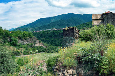 Beautiful view in armenian mountains with an ancient Monastery Akhtala