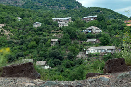 Houses of the small armenian town Akhtala located in the mountains