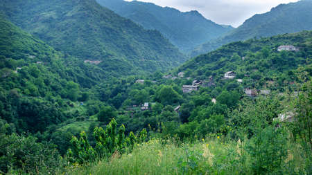 View of the small armenian town Akhtala located in the mountains