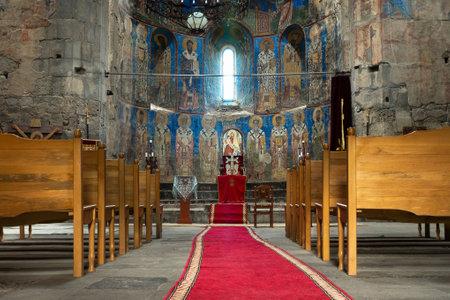 Akhtala, Armenia - June 20, 2017. Interior of the ancient cathedral of the Akhtala monastery Editorial